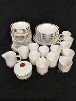 Vintage Woodhaven Collection Dinnerware Brown Band 49pcs