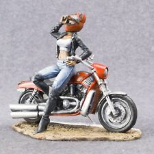 Motorcycle Metal Art Sculpture Hand Craft Painted Toy Soldiers 54mm Woman Biker