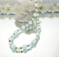 Halskette Kette Perlen weiss Glasperlen goldeinzug gold  449u