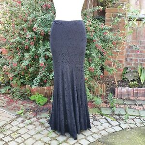 Edwardian Style Long Skirt - Black Lace - Circle Hem - Halloween Goth - UK 8/10