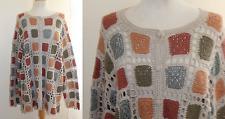 Marisa Christina -Sz 1X Boho Funky Hand-Knit Granny Square Cardigan Sweater