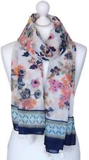 Off White Long Floral Print Scarf Ladies Navy Pink Garden Flowers Wrap