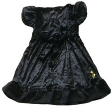 Girls Baby Phat Dress Size 5-6 Black Velvet With Sequins And Gold Cat