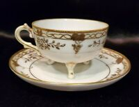 Antique Nippon Hand Painted Gold Footed Cup And Saucer