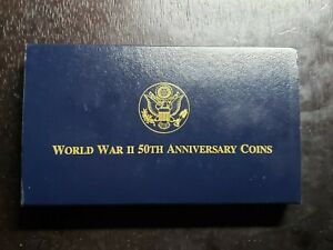 1991 - 1995 World War II 50th Anniversary 3 Coin Gold Proof Set - US Coins