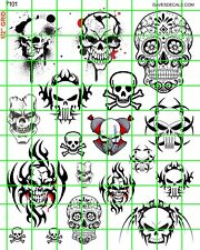 7101 DAVE'S DECALS GRAFFITI SKULLS, MULTIPLE SCALES AND USES AUTO, GARAGE, ETC