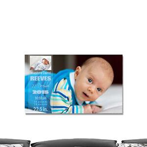 Custom photo printed newborn baby birth wall canvas. Light