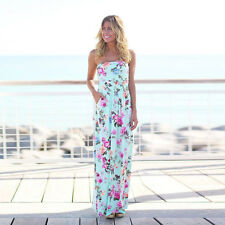 Damen Maxikleid Sommerkleid Strandkleid Bandeau Boho trägerloses Blumen Kleid