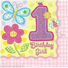 16 Girls 1st Birthday Hugs And Stitches 3ply Disposable 33cm Paper Lunch Napkins