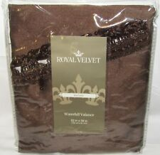 NEW ROYAL VELVET MYSTIQUE BROWN ENCORE WATERFALL VALANCE 52 IN X 38 IN
