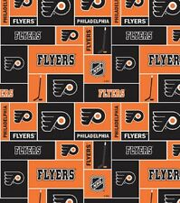 NHL HOCKEY PHILADELPHIA FLYERS PW FLEECE FABRIC BLANKET MATERIAL BY 1/2 YARDS