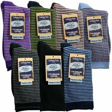 Maggie's Organic Cotton Socks Padded Comfort Cushion Crew Striped Made in USA