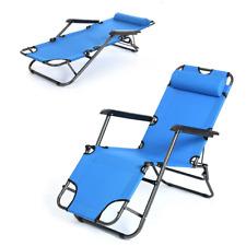 Zero Gravity Blue Folding Reclining Chair Chaise Lounge Recliner Beach Garden US