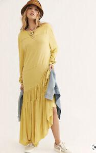 NWT Free People Beach Jilly Midi Dress Size Large Yellow Oversized NWD