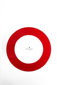 Kate Spade Round Dinner Plates Red White Lot 4