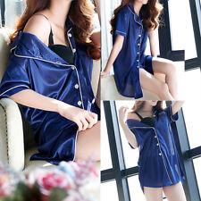 2 Piece Women Silk Short Sleeve Night Sleepwear Nightwear Dress Pajamas Set US
