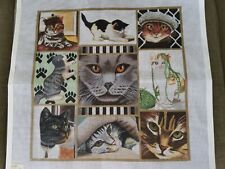 """Lani """"Cat Collage"""" Hand Painted Needlepoint Canvas"""