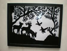 Reverse Painting on Glass Silhouette Deer Scene Painted Picture