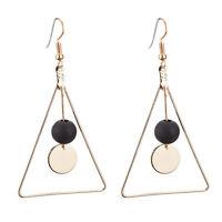 Fashion Women Gold Triangle Wood Beads Ear Stud Ear Drop Dangle Earrings Jewelry