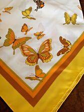 "Vintage Kmart Scarf Butterflies Print White Yellow Orange Brown 26"" Japan"