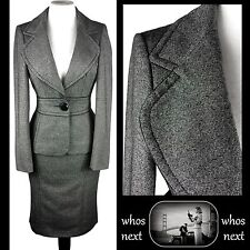 51 Next 14 16 grey wool tweed pencil skirt suit 40s 50s womans ladies eu 42 44