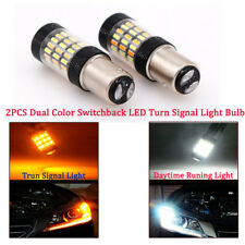 2PCS 1157 4014 LED Dual Color White & Amber Switchback Turn Signal Light Bulbs
