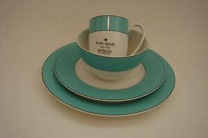 New Kate Spade New York Rutherford Circle Turquoise Mugs * Bowls * Plates