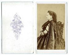 photo cdv 1870 reine d'Espagne? femme élégante de profil Espana Barcelona