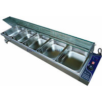 5 Pot Wet Well Temp Bain Marie Stainless Steel Catering Food Warmer W/ Glass Top