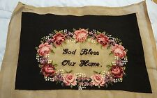 """Hand Stitched Needlepoint Tapestry """"God Bless Our Home"""" Pink Roses"""