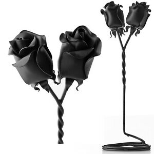 6th Iron Wedding Anniversary Gift For Her Forged Black Iron Rose Flower UK 6 Six