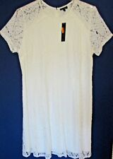 APT.9 Women's 1X White Open Cut Lace Flare Dress New with Tags Dressy Wedding