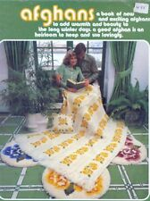 19 Afghans Knitting Crochet PATTERNS Aran Cable Poppies Rose Leaves