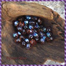 100 Perles de bohème facette 6mm Tchèque coloris dark topaz ab