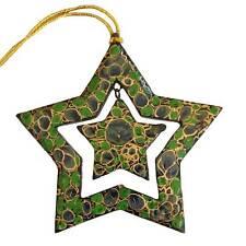 Christmas Tree Star - Green Papier-Mache - Handmade in India - Fair Trade