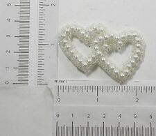 Faux Pearl Bridal Applique Entwined Hearts White