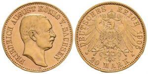 SACHSEN GOLD 20 Mark 1905 E FRIEDRICH AUGUST III. (1904-1918) Reichsadler