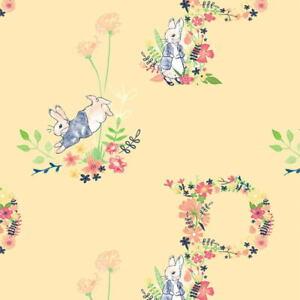 Beatrix Potter Peter Rabbit Floral Letter Yellow 2727C-03 Cotton Fabric BTY