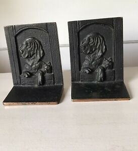 Antique Cast Iron Bookends Dog and Friend
