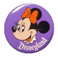 "Vintage Disneyland Minnie Mouse Purple 3"" Button Pin Walt Disney Productions"
