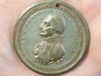 PEACE 1814 VON BLUCHER White Metal Medal 42mm holed #T2252