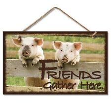 Novelty-Fun Wood Sign-Plaque--Friends Gather Here