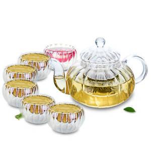 Clear Glass Coffee Tea Pot and Pumpkin Gongfu Teacups Small Mugs Tea Set