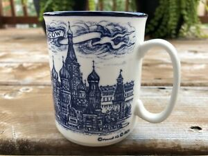 Signed Moscow Mockba Blue White Ceramic Coffee Mug Cup Moscow Church Russia