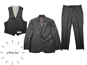 Lauren Ralph Lauren Men's Grey Wool Ultraflex 3 Piece Suit Set Size 38 S/ W 32