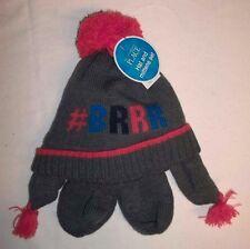 Childrens Place Gray Orange BRRRR Knit Hat & Mittens Medium 12-24MO NWTS!
