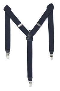 New Zara Men's Herringbone Suspenders  Navy Blue M Clip on