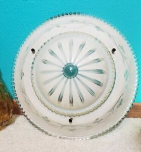 1920s Bowl Light Shade Ceiling Fixture Frosted ivory Art Deco Pressed Glass 12.5