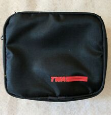 VINTAGE TWA AIRLINE TOILETRY BAG COSMETIC POUCH Blue WITH LOGO ZIP Travel