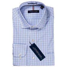2dc55df5d8020d Mens M 15 15.5 34 35 Tommy Hilfiger Blue Plaid Dress Shirt Regular Fit  Stretch